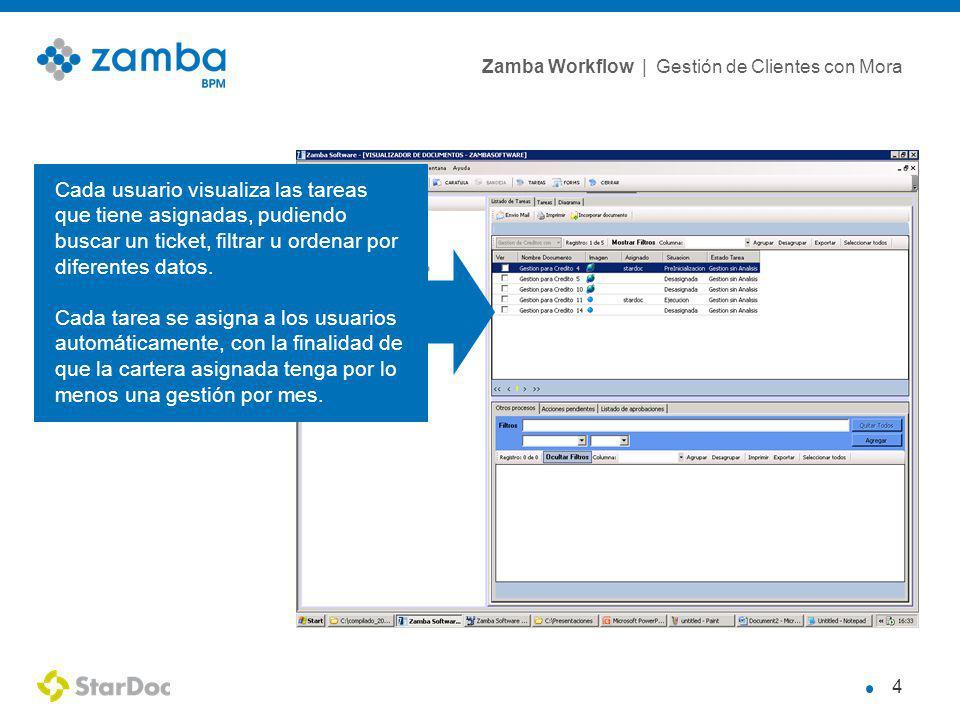 Zamba Workflow | Gestión de Clientes con Mora 4 Cada usuario visualiza las tareas que tiene asignadas, pudiendo buscar un ticket, filtrar u ordenar por diferentes datos.