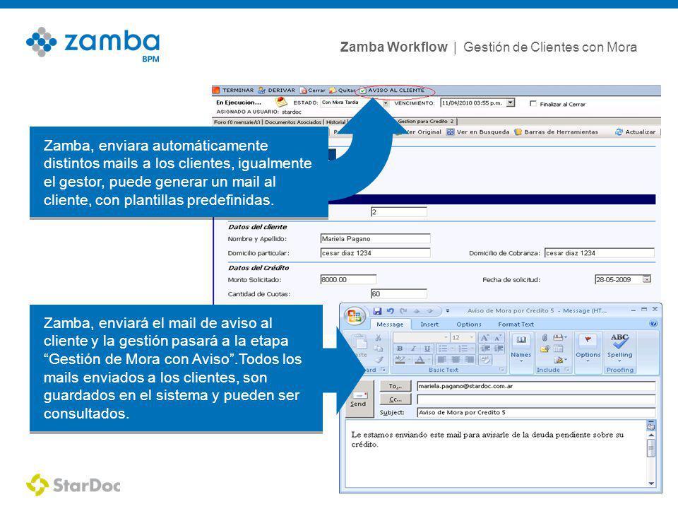 Zamba Workflow | Gestión de Clientes con Mora 8 Zamba, enviara automáticamente distintos mails a los clientes, igualmente el gestor, puede generar un mail al cliente, con plantillas predefinidas.