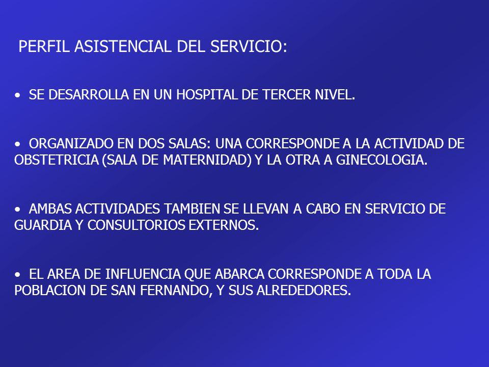 PERFIL ASISTENCIAL DEL SERVICIO: SE DESARROLLA EN UN HOSPITAL DE TERCER NIVEL. ORGANIZADO EN DOS SALAS: UNA CORRESPONDE A LA ACTIVIDAD DE OBSTETRICIA