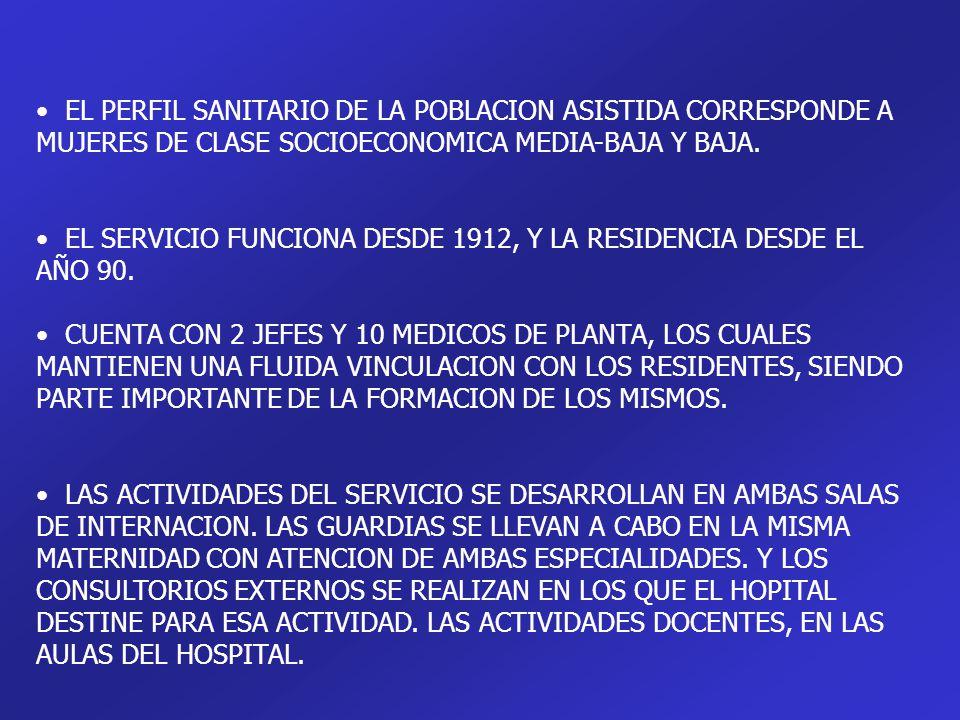 EL PERFIL SANITARIO DE LA POBLACION ASISTIDA CORRESPONDE A MUJERES DE CLASE SOCIOECONOMICA MEDIA-BAJA Y BAJA. EL SERVICIO FUNCIONA DESDE 1912, Y LA RE
