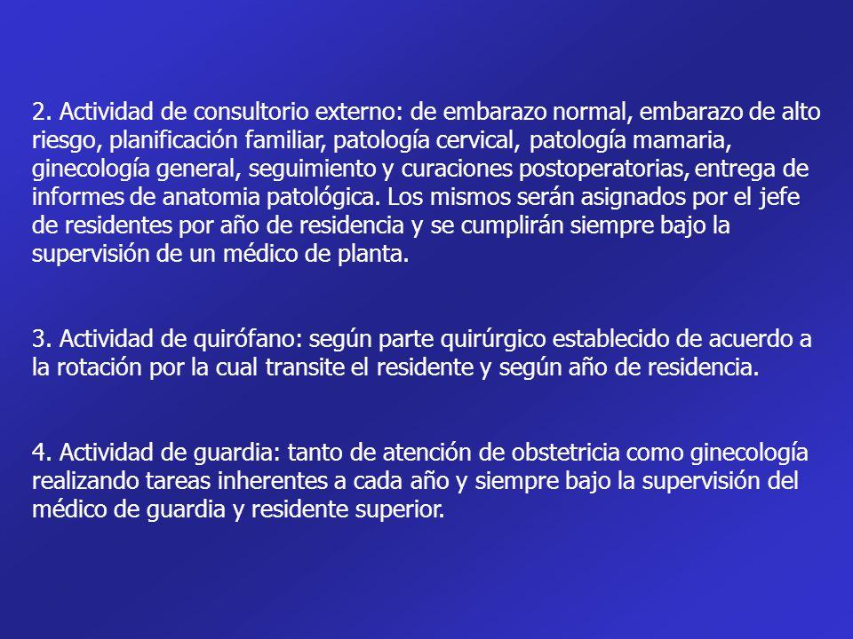 2. Actividad de consultorio externo: de embarazo normal, embarazo de alto riesgo, planificación familiar, patología cervical, patología mamaria, ginec