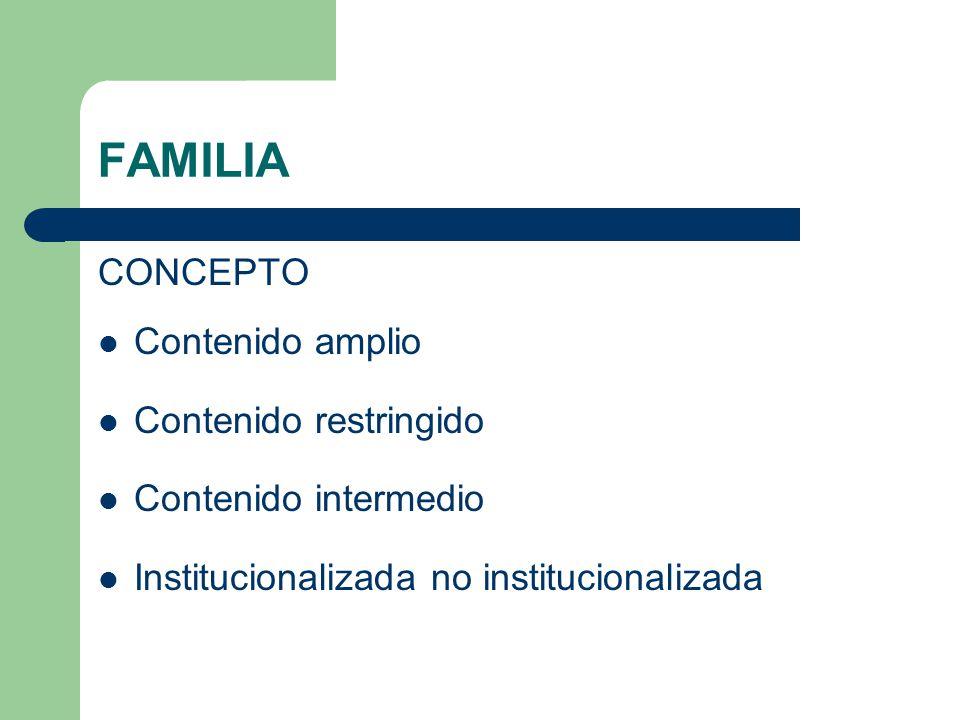FAMILIA CONCEPTO Contenido amplio Contenido restringido Contenido intermedio Institucionalizada no institucionalizada