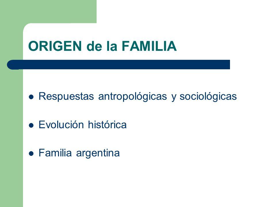 ORIGEN de la FAMILIA Respuestas antropológicas y sociológicas Evolución histórica Familia argentina