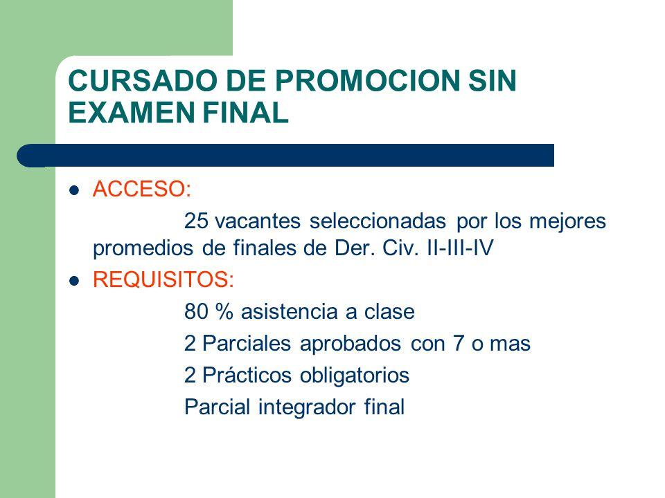 CURSADO DE PROMOCION SIN EXAMEN FINAL ACCESO: 25 vacantes seleccionadas por los mejores promedios de finales de Der. Civ. II-III-IV REQUISITOS: 80 % a