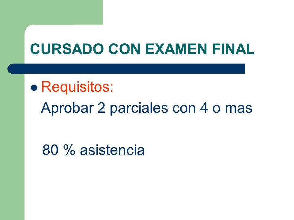 CURSADO CON EXAMEN FINAL Requisitos: Aprobar 2 parciales con 4 o mas 80 % asistencia