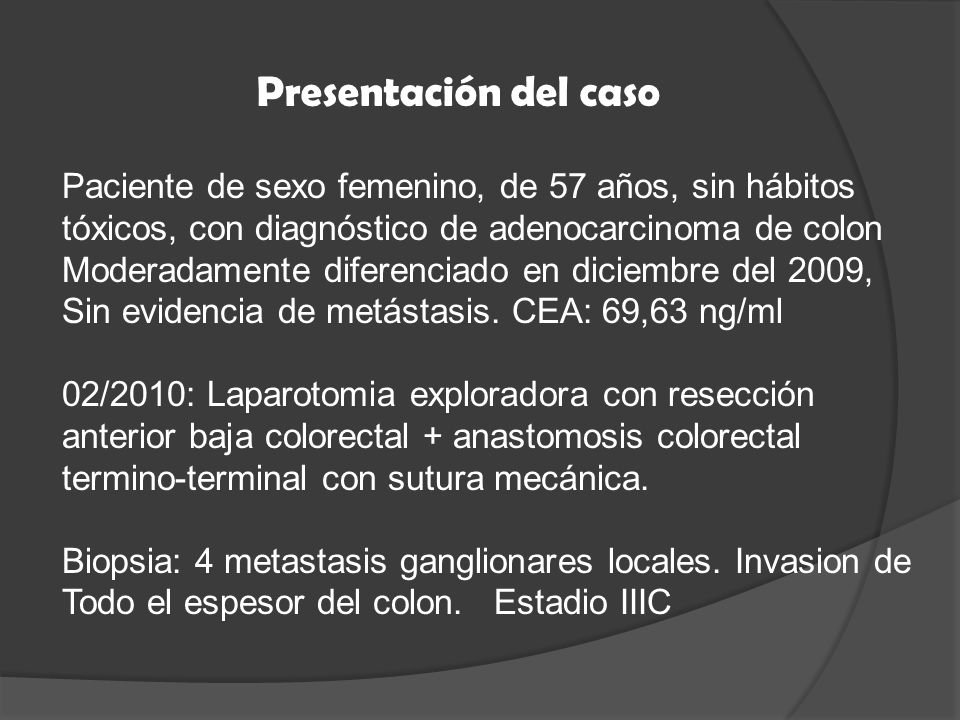 Objetivo : comparar el desempeño diagnóstico del PET, PET/TC, TC, y RMI como métodos para detectar recurrencia local o a distancia en cáncer colorectal en pacientes con alta sospecha clínica o con aumento en los niveles de CEA.