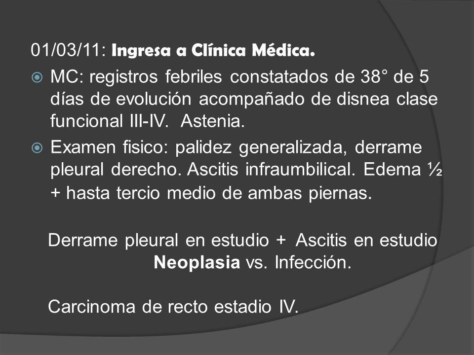 Estudios complementarios Liquido ascitico: Citologia: negativa para células neoplásicas.