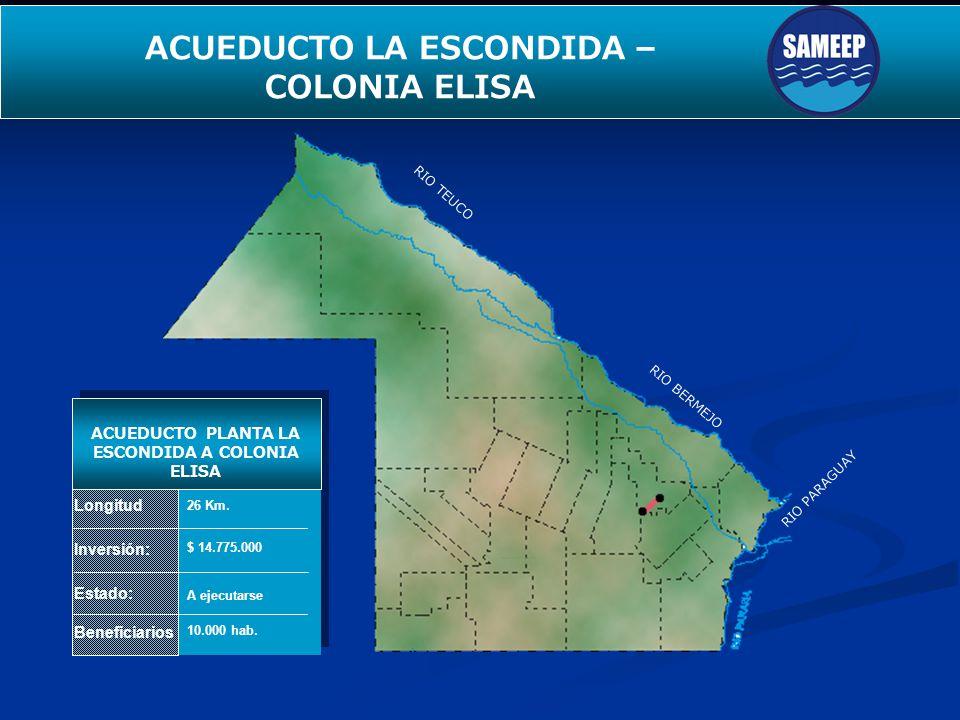 SEGUNDO ACUEDUCTO PARA EL INTERIOR Longitud Inversión: Estado: Beneficiarios ACUEDUCTO PLANTA LA ESCONDIDA A COLONIA ELISA 26 Km. $ 14.775.000 A ejecu