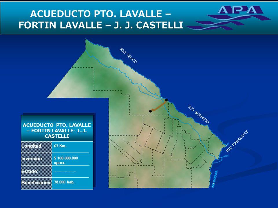 RIO TEUCO RIO BERMEJO RIO PARAGUAY SEGUNDO ACUEDUCTO PARA EL INTERIOR Longitud Inversión: Estado: Beneficiarios ACUEDUCTO PTO. LAVALLE – FORTIN LAVALL
