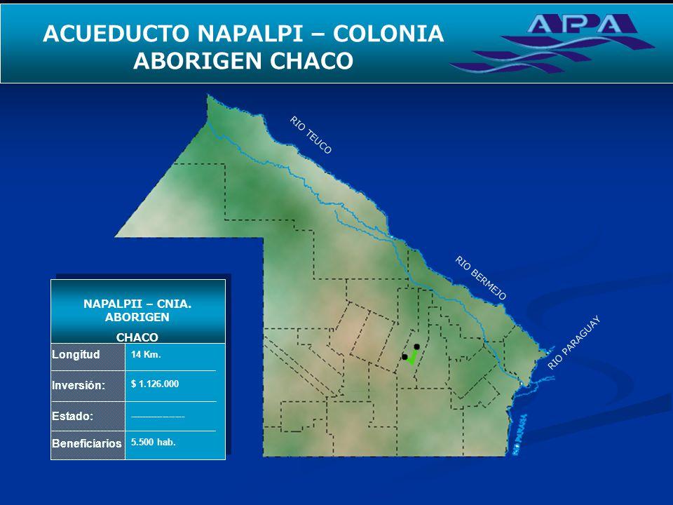RIO TEUCO RIO BERMEJO RIO PARAGUAY SEGUNDO ACUEDUCTO PARA EL INTERIOR Longitud Inversión: Estado: Beneficiarios NAPALPII – CNIA. ABORIGEN CHACO 14 Km.
