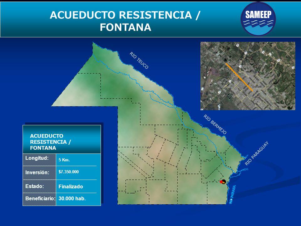 Longitud: Inversión: Estado: Beneficiario: ACUEDUCTO RESISTENCIA / FONTANA 5 Km. $7.350.000 Finalizado 30.000 hab. RIO TEUCO RIO BERMEJO RIO PARAGUAY