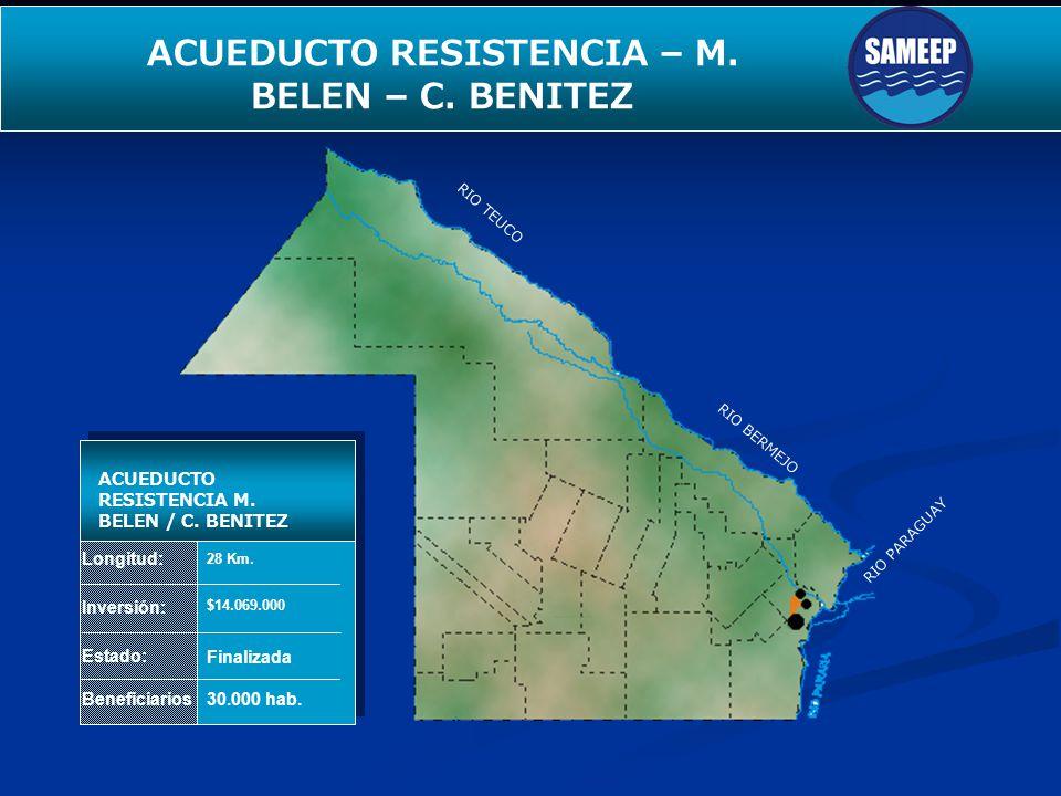 SEGUNDO ACUEDUCTO PARA EL INTERIOR Longitud: Inversión: Estado: Beneficiarios ACUEDUCTO RESISTENCIA M. BELEN / C. BENITEZ 28 Km. $14.069.000 Finalizad