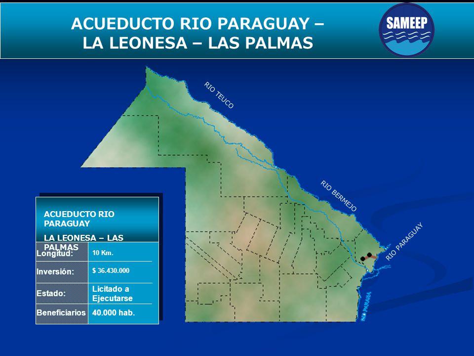 RIO TEUCO RIO BERMEJO RIO PARAGUAY SEGUNDO ACUEDUCTO PARA EL INTERIOR Longitud: Inversión: Estado: Beneficiarios ACUEDUCTO RIO PARAGUAY LA LEONESA – L