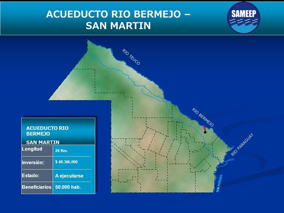 SEGUNDO ACUEDUCTO PARA EL INTERIOR Longitud Inversión: Estado: Beneficiarios ACUEDUCTO RIO BERMEJO SAN MARTIN 24 Km. $ 48.306.000 A ejecutarse 50.000