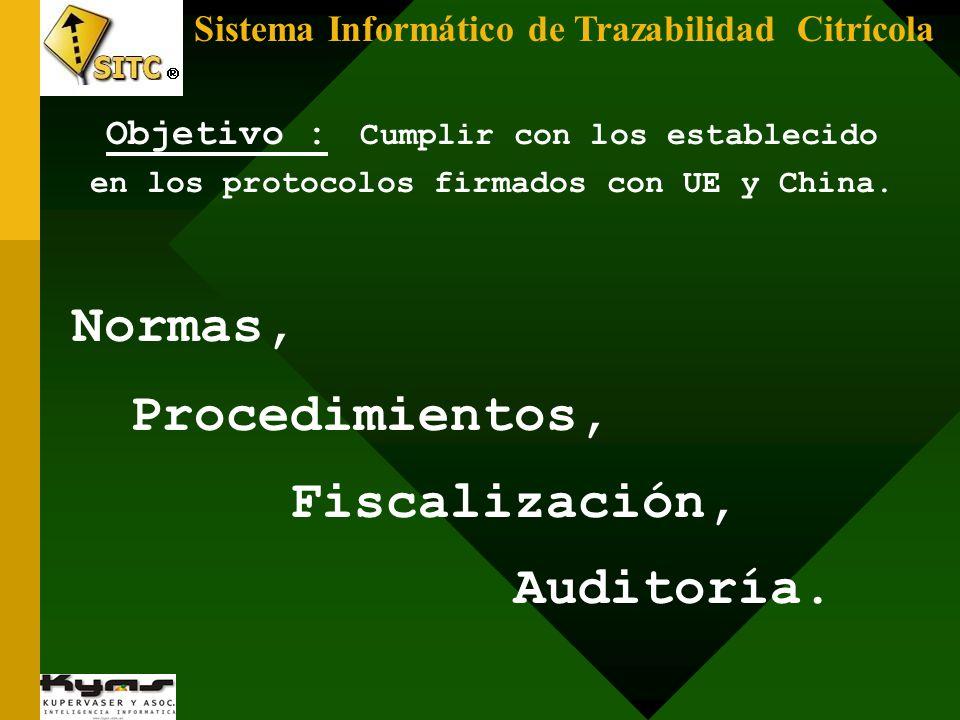 Sistema Informático de Trazabilidad Citrícola Normas, Procedimientos, Fiscalización, Auditoría. Objetivo : Cumplir con los establecido en los protocol
