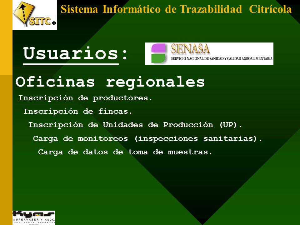 Sistema Informático de Trazabilidad Citrícola Oficinas regionales Inscripción de productores. Inscripción de fincas. Inscripción de Unidades de Produc