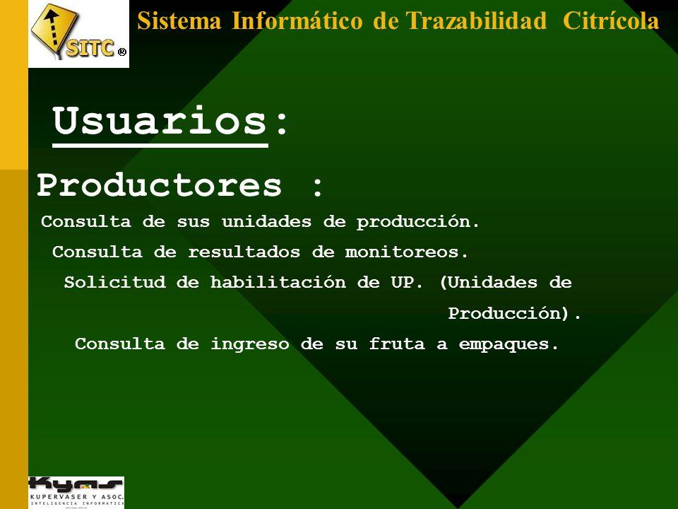 Sistema Informático de Trazabilidad Citrícola Productores : Consulta de sus unidades de producción. Consulta de resultados de monitoreos. Solicitud de