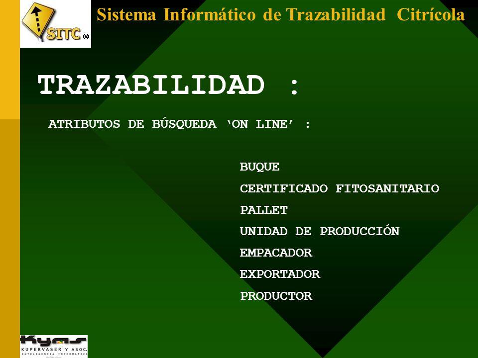 TRAZABILIDAD : ATRIBUTOS DE BÚSQUEDA ON LINE : BUQUE CERTIFICADO FITOSANITARIO PALLET UNIDAD DE PRODUCCIÓN EMPACADOR EXPORTADOR PRODUCTOR
