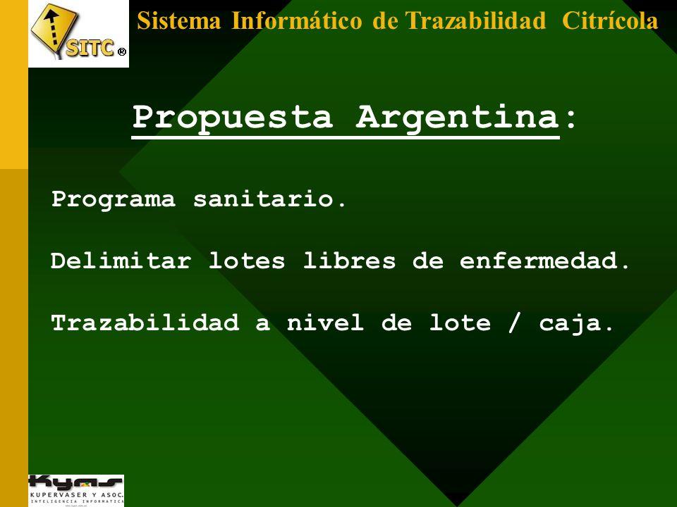 Sistema Informático de Trazabilidad Citrícola Propuesta Argentina: Delimitar lotes libres de enfermedad. Trazabilidad a nivel de lote / caja. Programa