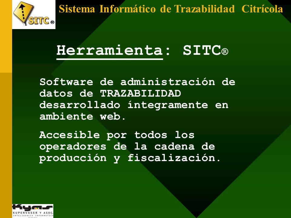 Sistema Informático de Trazabilidad Citrícola Herramienta: SITC ® Software de administración de datos de TRAZABILIDAD desarrollado íntegramente en amb