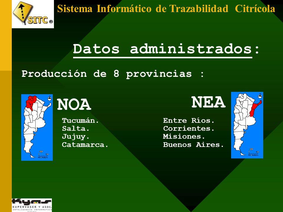 Sistema Informático de Trazabilidad Citrícola Datos administrados: Producción de 8 provincias : NEA NOA Tucumán. Salta. Jujuy. Catamarca. Entre Ríos.