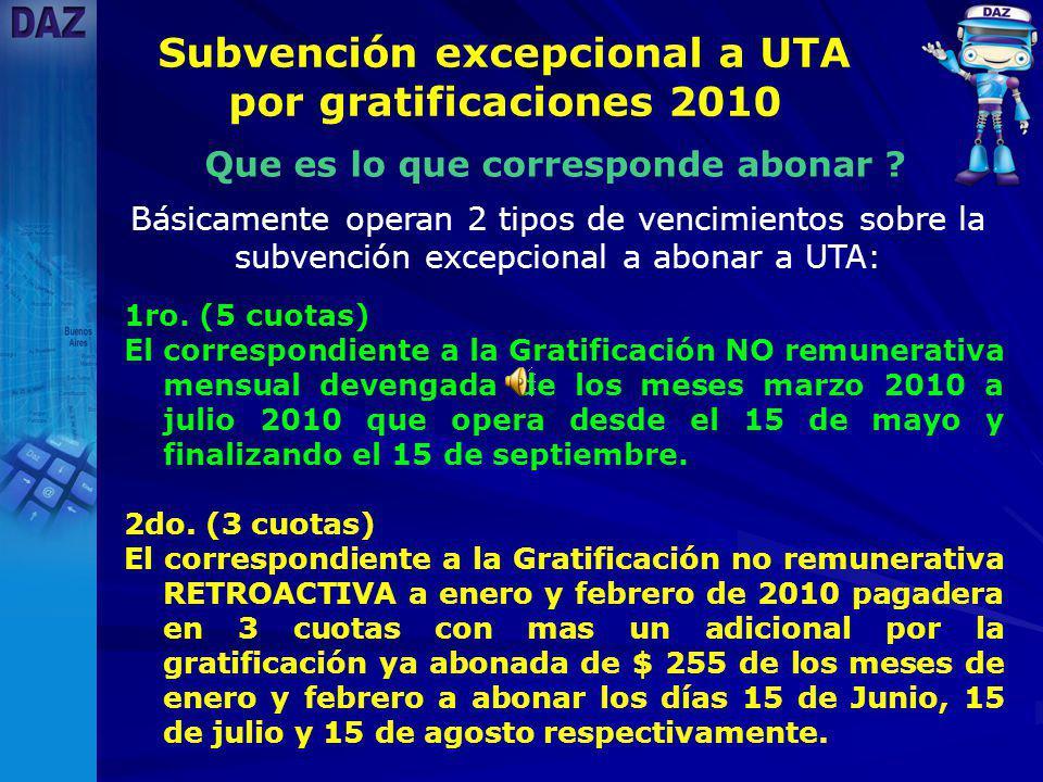 Subvención excepcional a UTA por gratificaciones 2010 Que es lo que corresponde abonar .