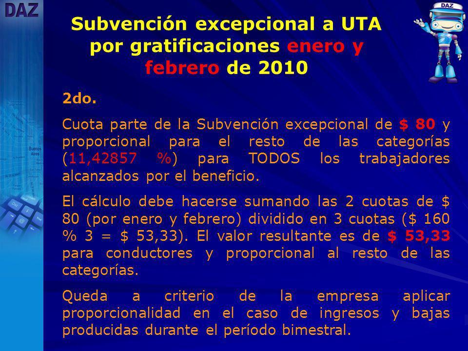 Subvención excepcional a UTA por gratificaciones enero y febrero de 2010 2do.
