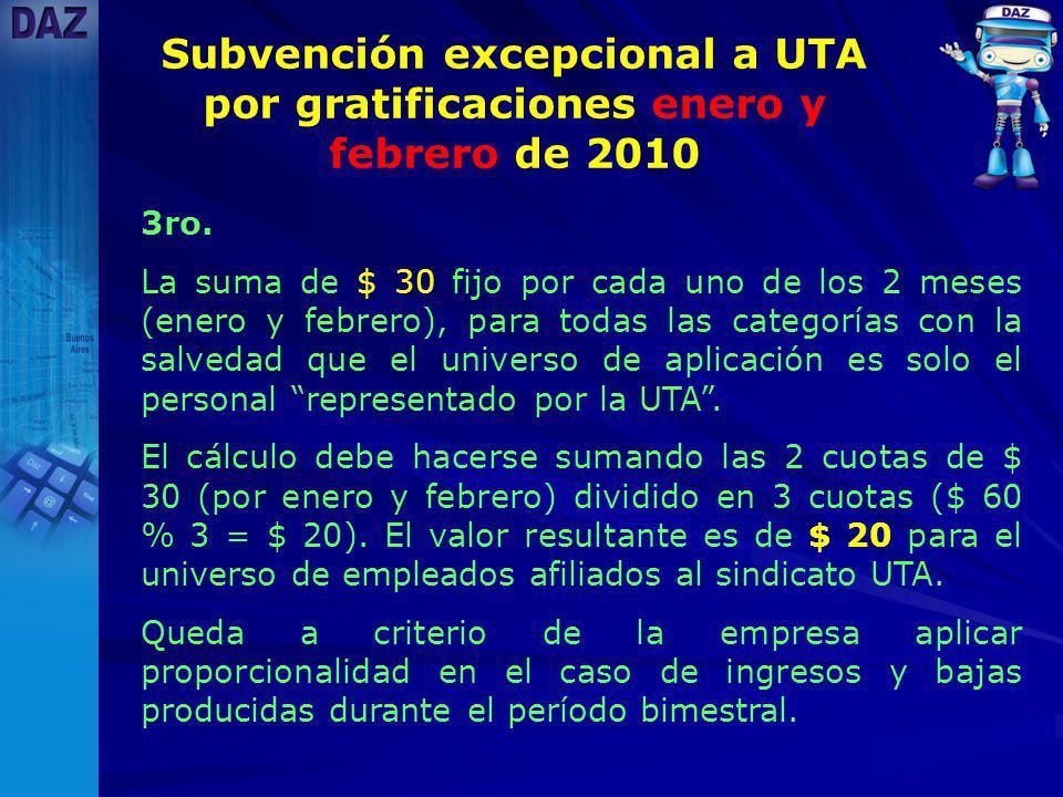 Subvención excepcional a UTA por gratificaciones enero y febrero de 2010 3ro.