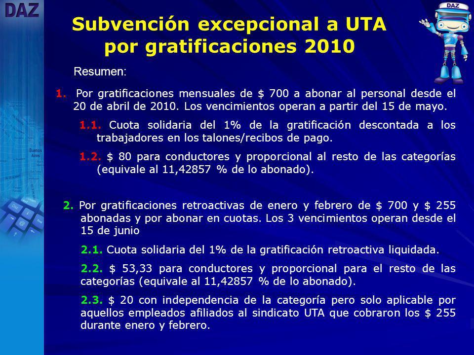 Resumen: Subvención excepcional a UTA por gratificaciones 2010 1.
