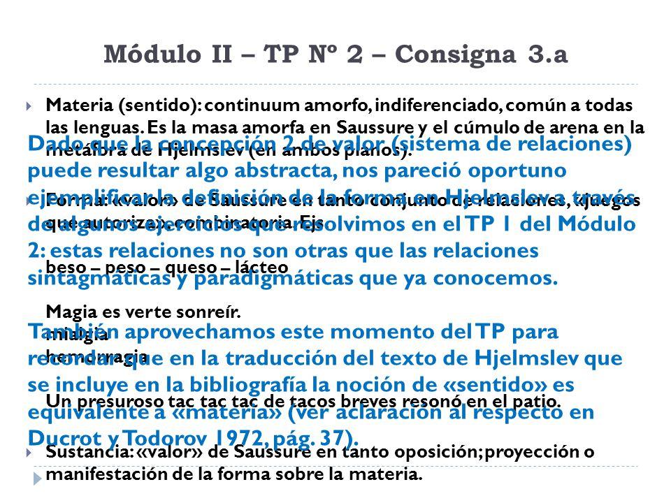 Módulo II – TP Nº 2 – Consigna 3.a Materia (sentido): continuum amorfo, indiferenciado, común a todas las lenguas. Es la masa amorfa en Saussure y el