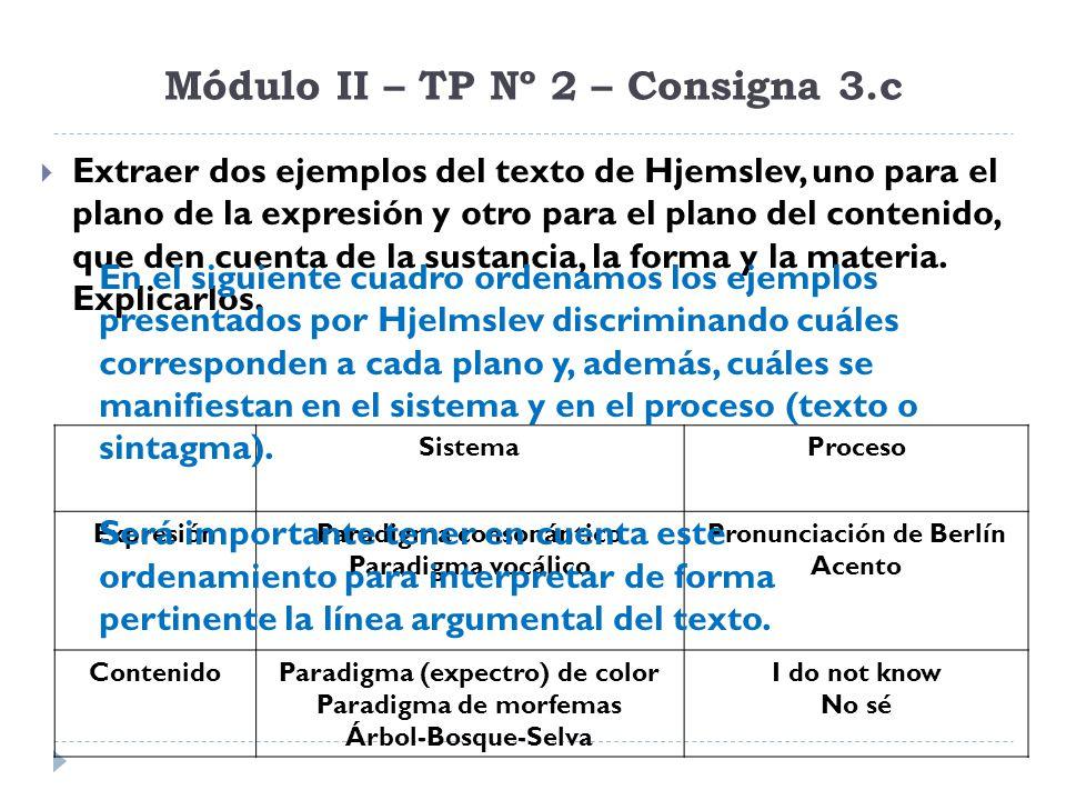 Módulo II – TP Nº 2 – Consigna 3.c Extraer dos ejemplos del texto de Hjemslev, uno para el plano de la expresión y otro para el plano del contenido, q