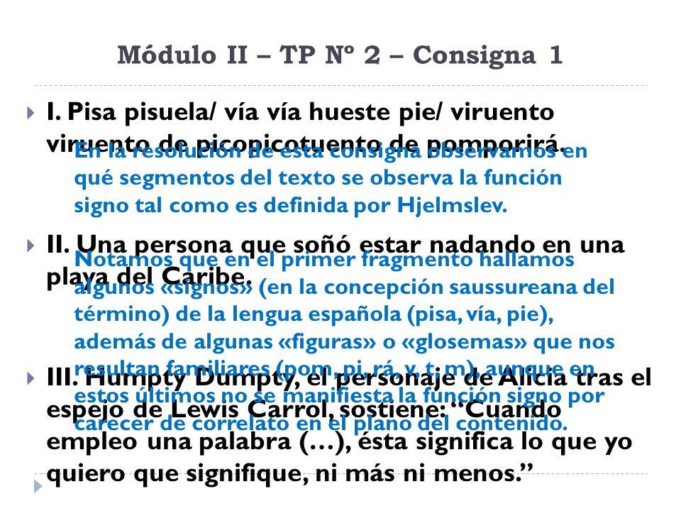 Módulo II – TP Nº 2 – Consigna 1 I. Pisa pisuela/ vía vía hueste pie/ viruento viruento de picopicotuento de pomporirá. II. Una persona que soñó estar