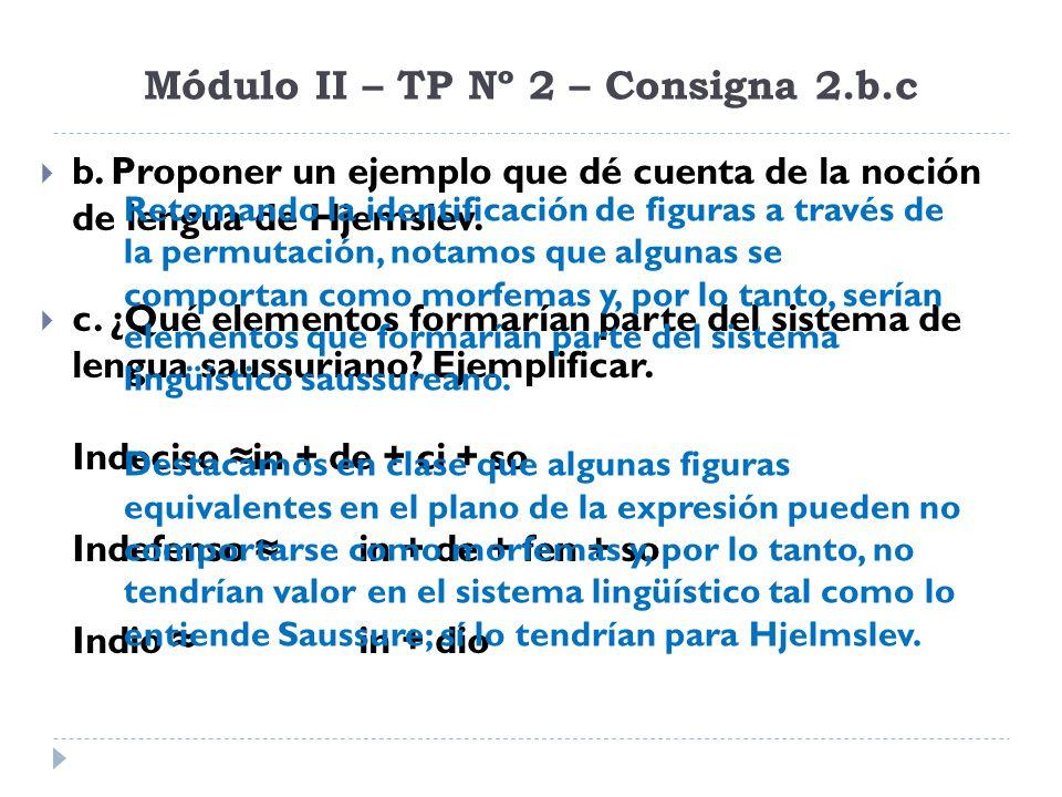 Módulo II – TP Nº 2 – Consigna 3.a Definir los siguientes términos, teniendo en cuenta los párrafos de Saussure y Hjemslev abajo transcriptos: El papel característico de la lengua frente al pensamiento no es el de crear un medio fónico material para la expresión de las ideas, sino el de servir de intermediaria entre el pensamiento y el sonido… su unión lleva necesariamente a deslindamientos recíprocos de unidades.
