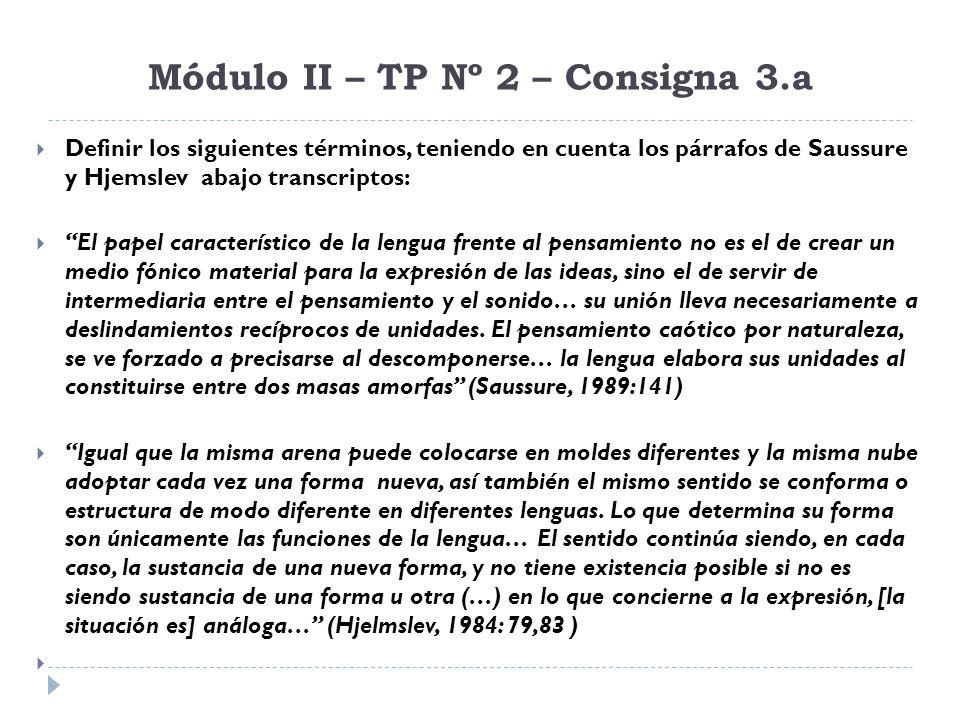 Módulo II – TP Nº 2 – Consigna 3.a Definir los siguientes términos, teniendo en cuenta los párrafos de Saussure y Hjemslev abajo transcriptos: El pape