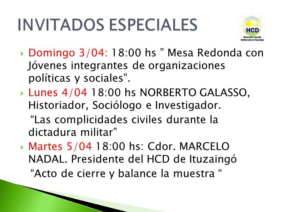 Domingo 3/04: 18:00 hs Mesa Redonda con Jóvenes integrantes de organizaciones políticas y sociales.