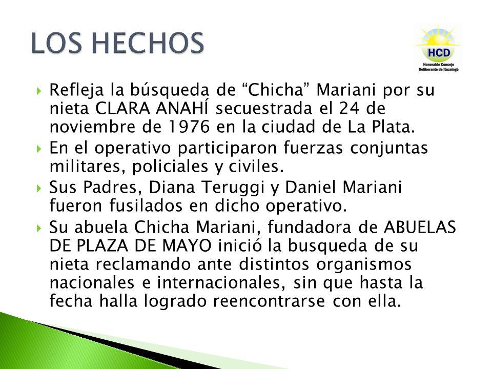 Refleja la búsqueda de Chicha Mariani por su nieta CLARA ANAHÍ secuestrada el 24 de noviembre de 1976 en la ciudad de La Plata.