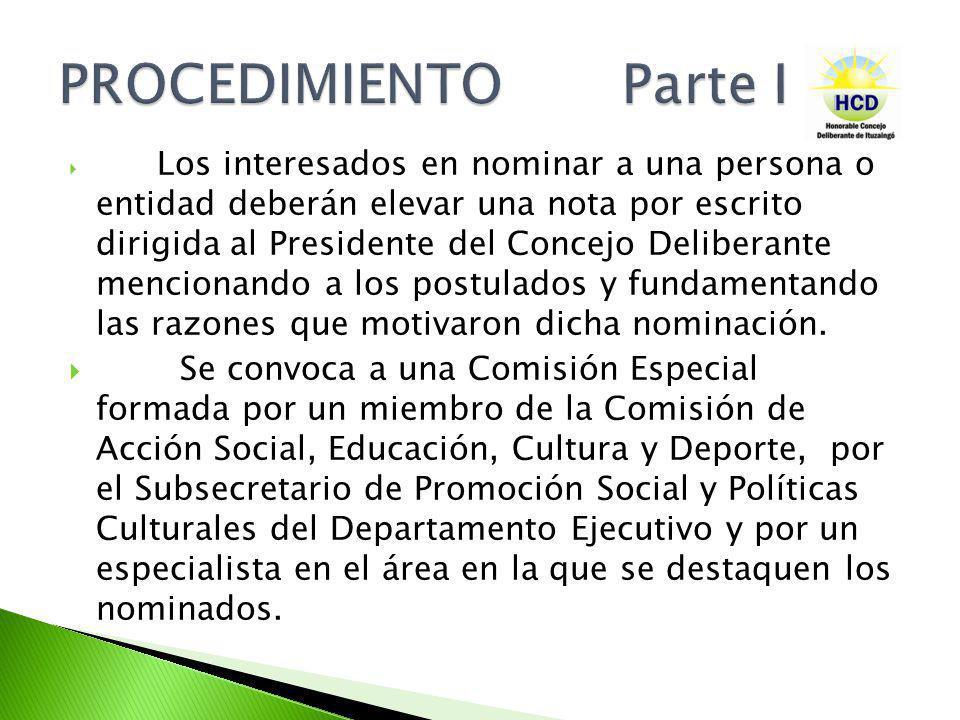 Los interesados en nominar a una persona o entidad deberán elevar una nota por escrito dirigida al Presidente del Concejo Deliberante mencionando a lo