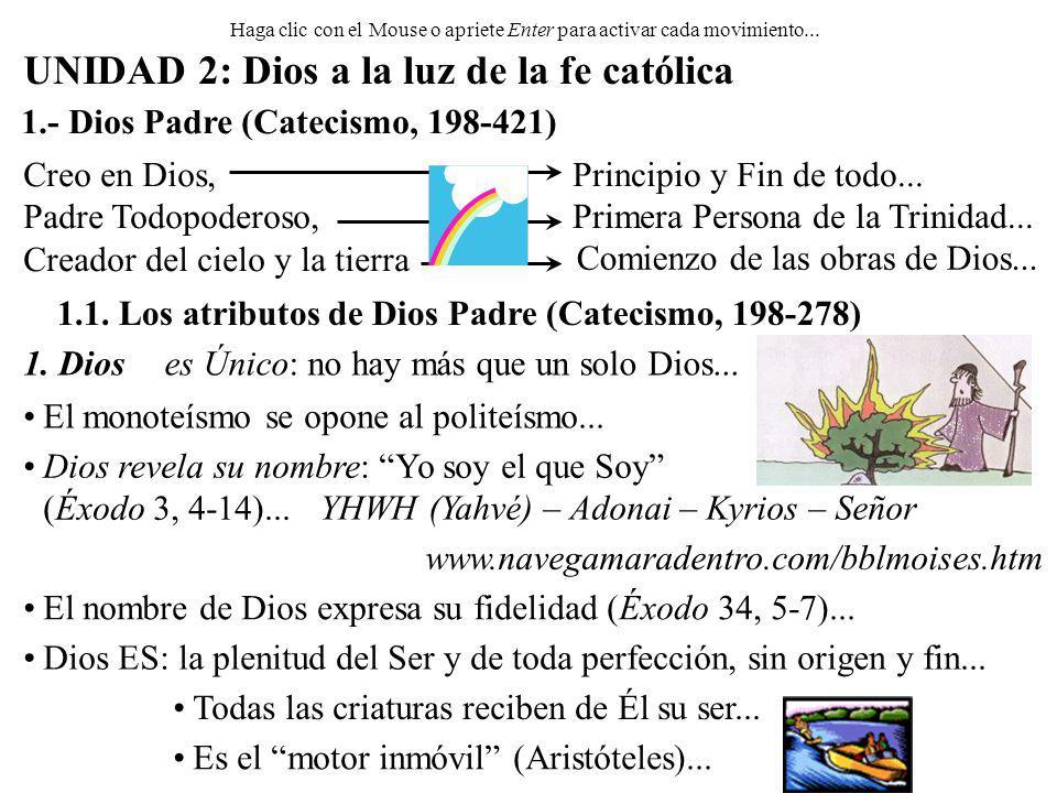 Haga clic con el Mouse o apriete Enter para activar cada movimiento... UNIDAD 2: Dios a la luz de la fe católica 1.- Dios Padre (Catecismo, 198-421) C