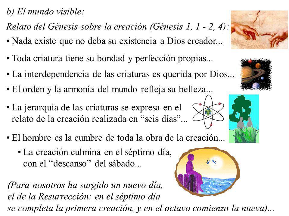 El orden y la armonía del mundo refleja su belleza... La jerarquía de las criaturas se expresa en el relato de la creación realizada en seis días... E