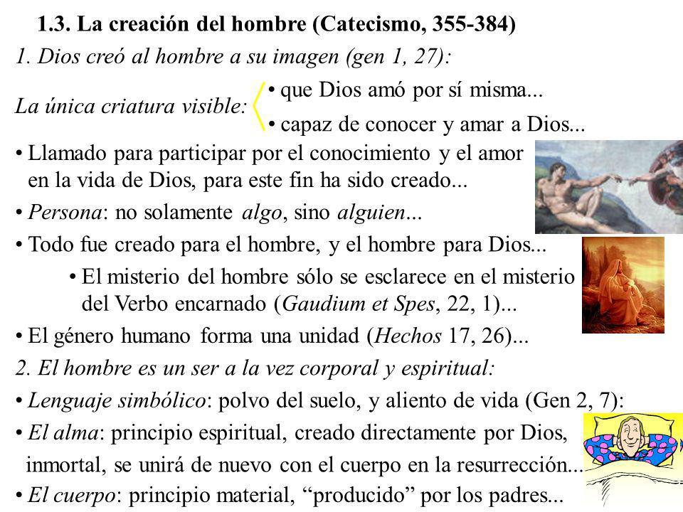 1.3. La creación del hombre (Catecismo, 355-384) 1. Dios creó al hombre a su imagen (gen 1, 27): La única criatura visible: que Dios amó por sí misma.