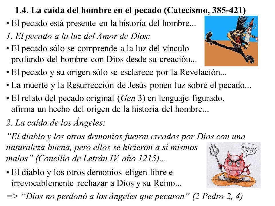 1.4. La caída del hombre en el pecado (Catecismo, 385-421) El pecado está presente en la historia del hombre... El pecado sólo se comprende a la luz d