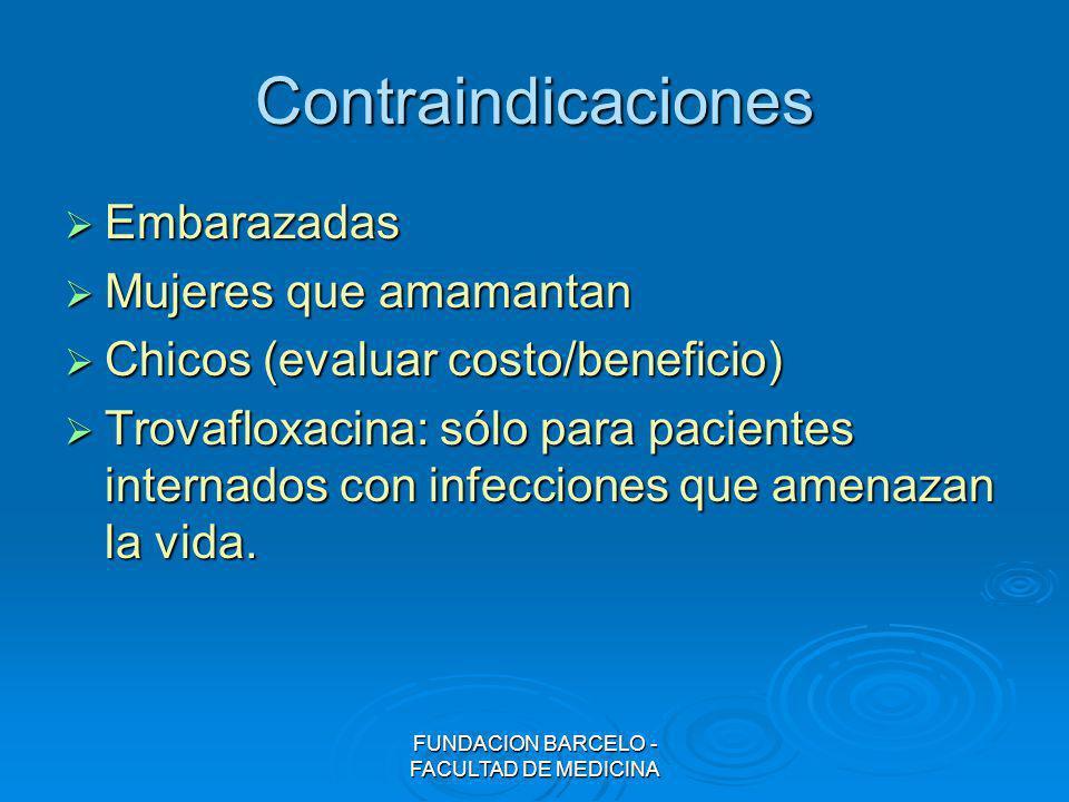 FUNDACION BARCELO - FACULTAD DE MEDICINA Contraindicaciones Embarazadas Embarazadas Mujeres que amamantan Mujeres que amamantan Chicos (evaluar costo/