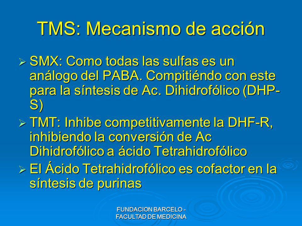FUNDACION BARCELO - FACULTAD DE MEDICINA TMS: Mecanismo de acción SMX: Como todas las sulfas es un análogo del PABA. Compitiéndo con este para la sínt