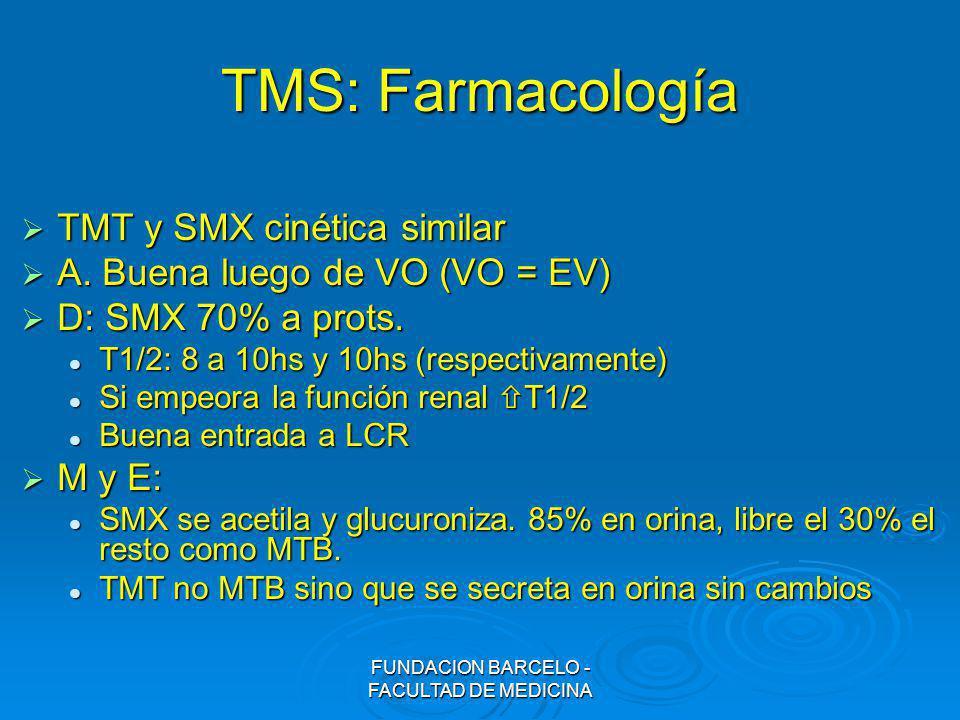 FUNDACION BARCELO - FACULTAD DE MEDICINA TMS: Farmacología TMT y SMX cinética similar TMT y SMX cinética similar A. Buena luego de VO (VO = EV) A. Bue