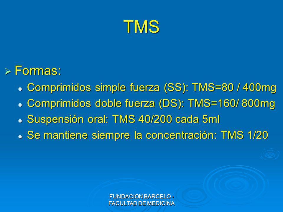 FUNDACION BARCELO - FACULTAD DE MEDICINA TMS Formas: Formas: Comprimidos simple fuerza (SS): TMS=80 / 400mg Comprimidos simple fuerza (SS): TMS=80 / 4