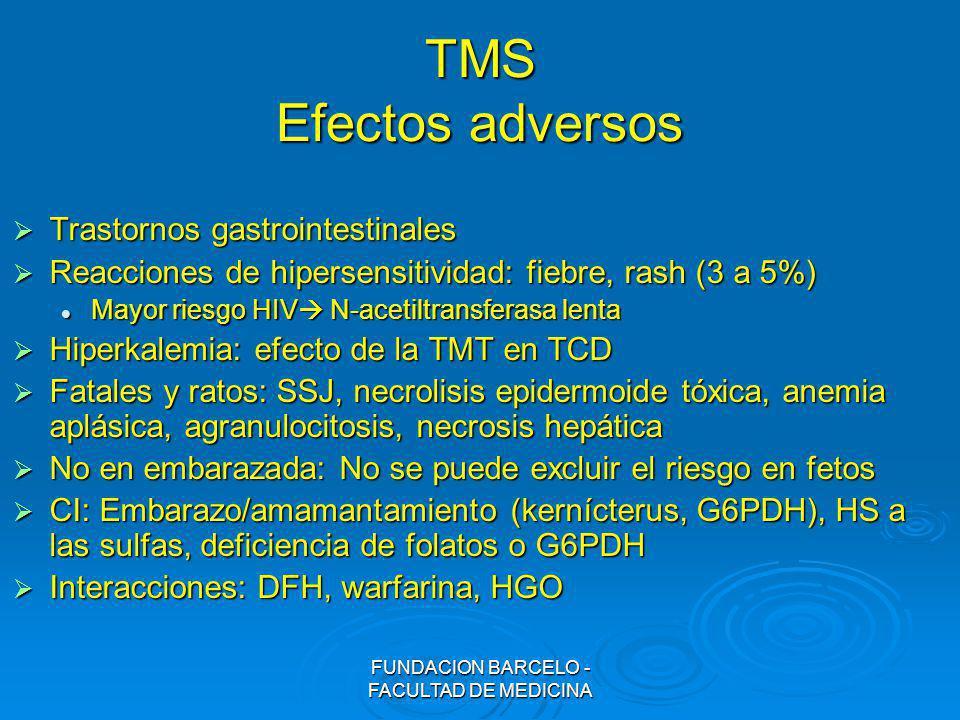 FUNDACION BARCELO - FACULTAD DE MEDICINA TMS Efectos adversos Trastornos gastrointestinales Trastornos gastrointestinales Reacciones de hipersensitivi