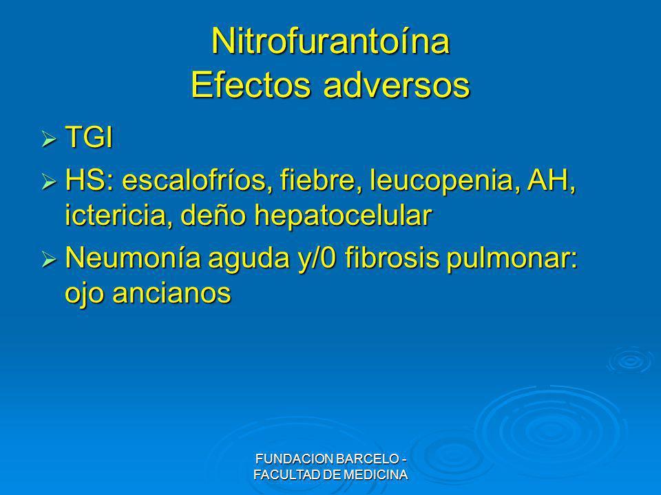 FUNDACION BARCELO - FACULTAD DE MEDICINA Nitrofurantoína Efectos adversos TGI TGI HS: escalofríos, fiebre, leucopenia, AH, ictericia, deño hepatocelul