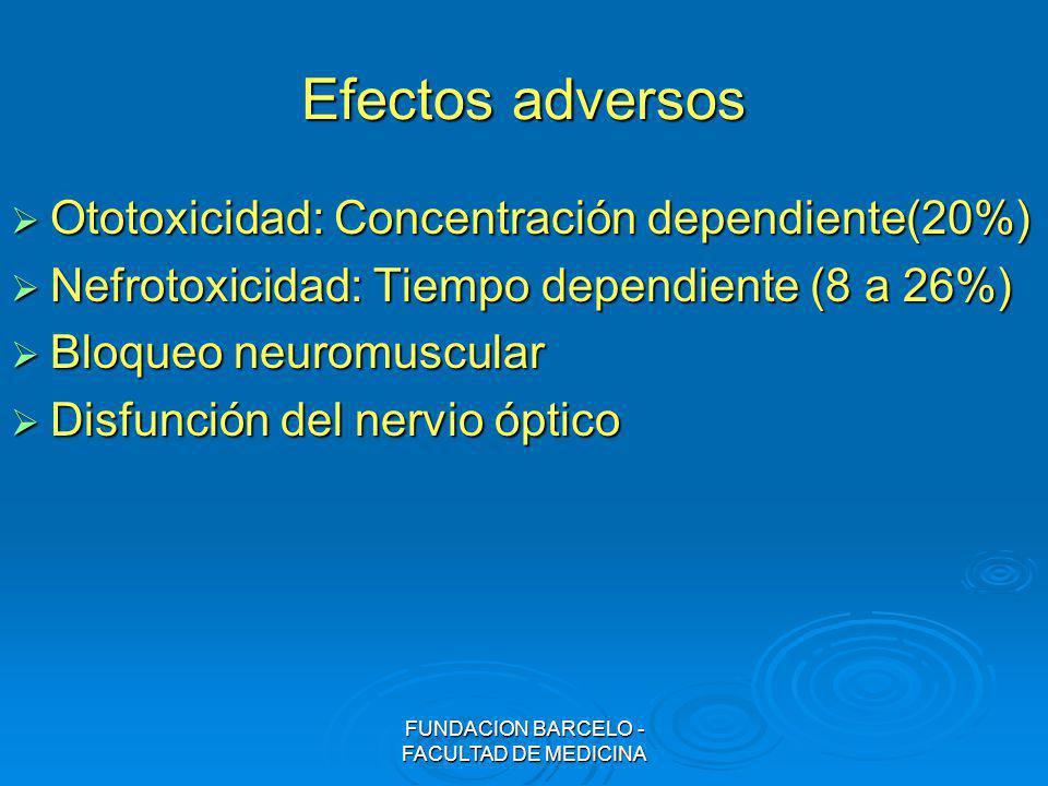 FUNDACION BARCELO - FACULTAD DE MEDICINA Efectos adversos Ototoxicidad: Concentración dependiente(20%) Ototoxicidad: Concentración dependiente(20%) Ne
