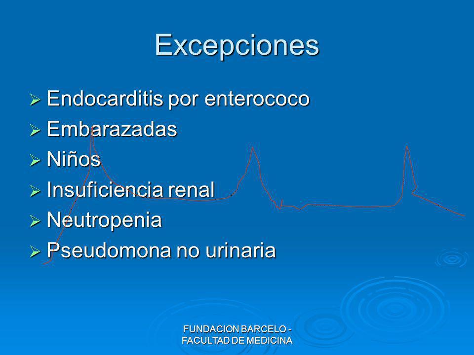 FUNDACION BARCELO - FACULTAD DE MEDICINA Excepciones Endocarditis por enterococo Endocarditis por enterococo Embarazadas Embarazadas Niños Niños Insuf