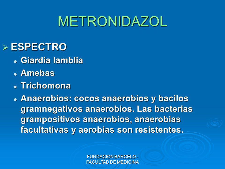METRONIDAZOL ESPECTRO ESPECTRO Giardia lamblia Giardia lamblia Amebas Amebas Trichomona Trichomona Anaerobios: cocos anaerobios y bacilos gramnegativo